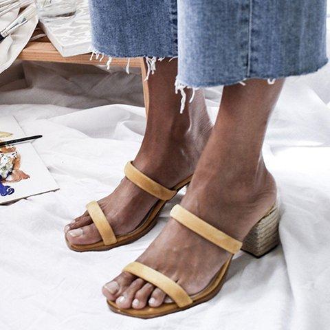 Slip-On Chunky Heel Open Toe Heels Elegant Women Sandals