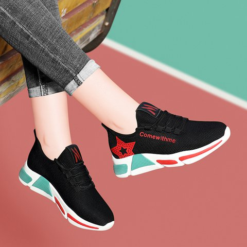 Athletic Style Breathable Lace Up All Season Sneakers