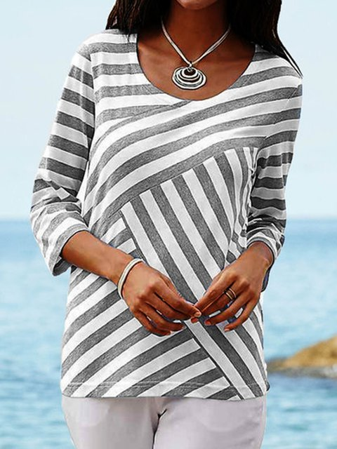 Women Crew Neck Striped Half Sleeve Boho Blouses