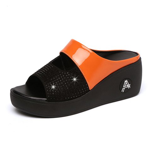 Plus Size Beading Color Block Wedges Slippers