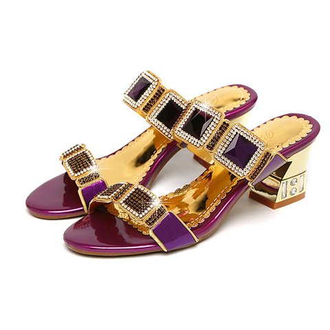 Shiny Chic Chunky Heel Open Toe Slide Sandals