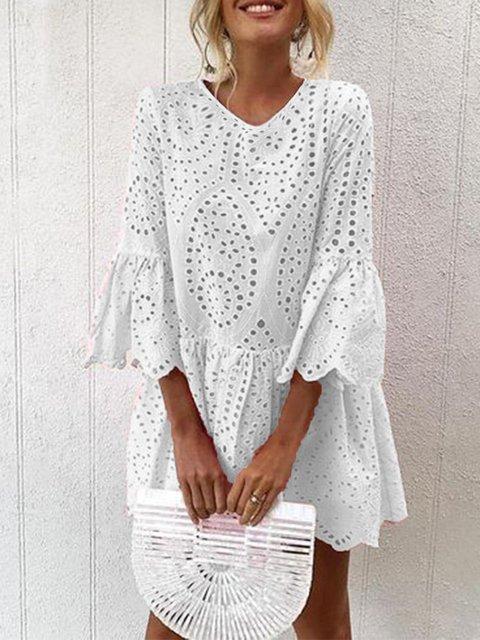 V Neck Women Summer Dresses Solid Dresses