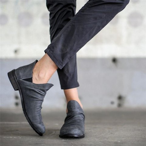 Soft Leather Ankle Booties Slip On Shoes