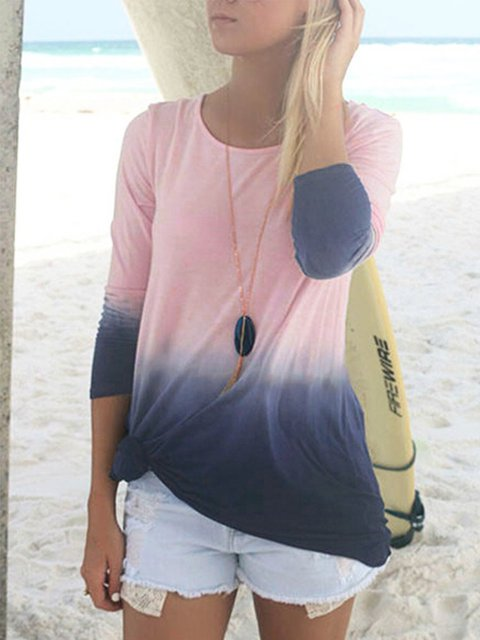 Casual Ombre/tie-Dye Cotton Shirts & Tops