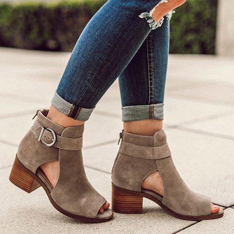 2102e058f1d Summer Peep Toe Chunky Heel Booties Sandals