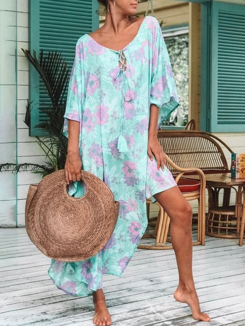 Printed Floral V Neck Shift Holiday Boho Plus Size Maxi Dresses