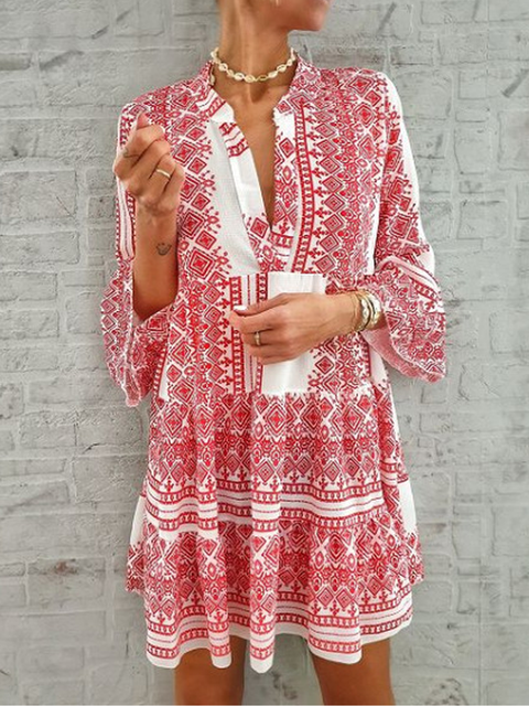 Summer Stripe Printed Long Sleeve V neck Casual Dresses