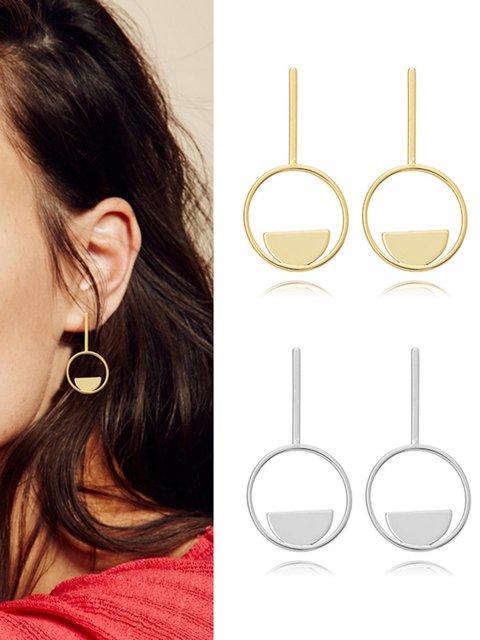 Women Copper Round Earrings