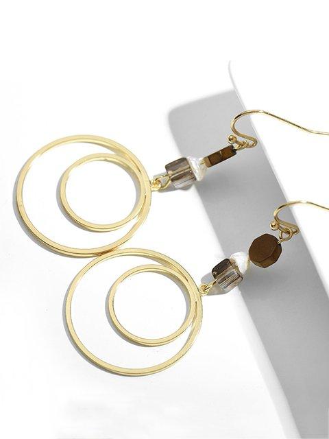 Women Casual Golden Round Earrings