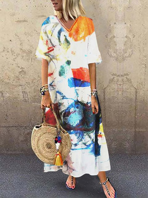 32a64c62b8 Justfashionnow Party Dresses 1 Casual KaftanDresses Going Out V Neck Holiday  Printed Short Sleeve Dresses