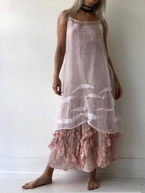 Plus Size Lace Linen Women Midi Dresses