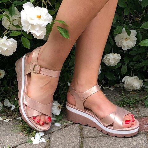 Size Sandals Toe Cross Plus Strap Wedge Peep nmNOy0v8w