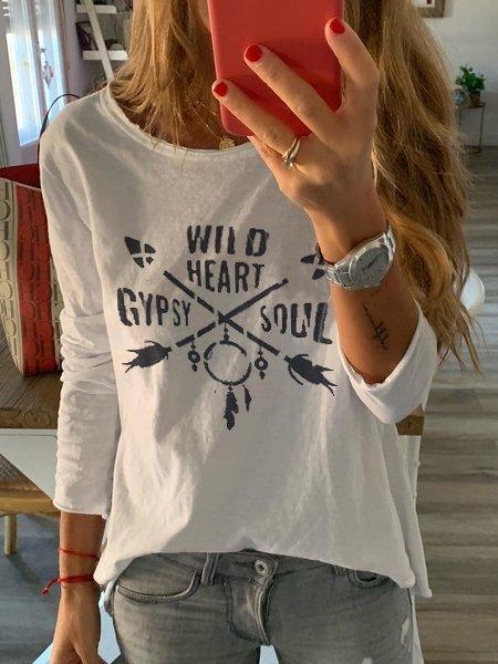 Crew Neck Cotton-Blend Long Sleeve Shirts & Tops