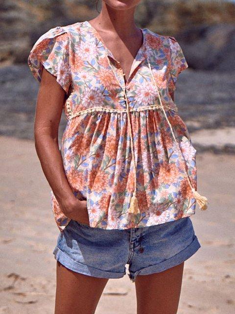 Printed Floral Short Sleeve Boho Plus Size Women Blouses