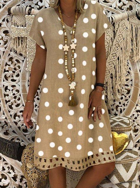 Women Midi V-Neck Short Sleeve Hollow Polka Dot Summer  Plus Size Dress