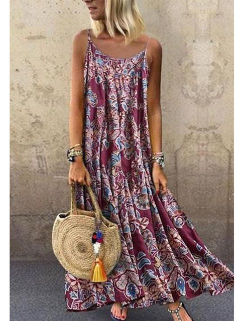 Purplish Red V Neck Vintage Sleeveless A-Line Dresses