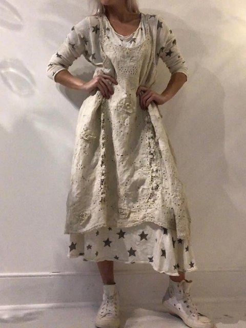 Plus Size Linen Cutout Women Summer Midi Dresses