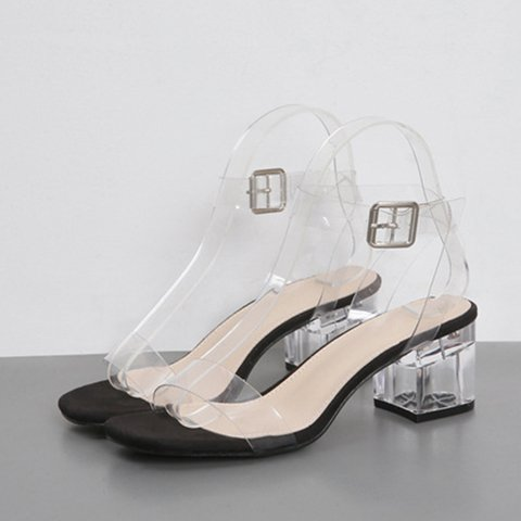 Simple Pvc Open Toe Chunky Heel Daily Sandals