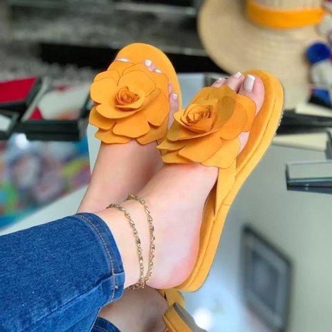 Women Slip-On Flip Flop Flower Flat Slide Sandals