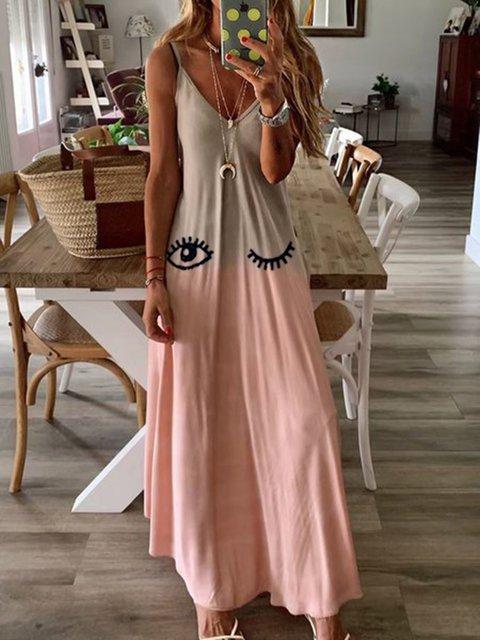 Sleeveless Printed Shift V neck Dress