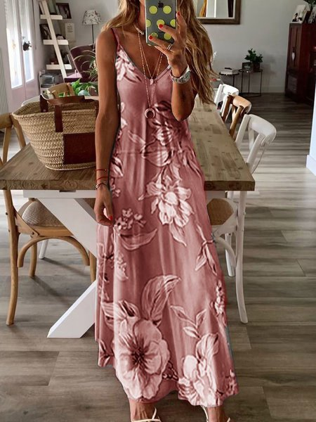 Summer V neck Floral Casual Daytime Shift Sleeveless MaxiDress