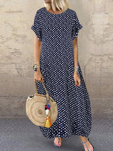 Printed Polka Dots Short Sleeve Crew Neck Maxi Dresses