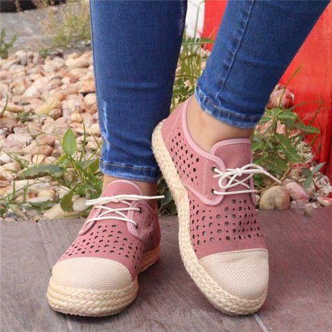 Hollow Out Cute Espadrille Lace Up Sneakers