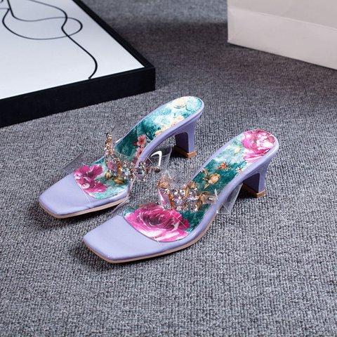 Date Rhinestone Pvc Peep Toe Heels Slide Sandals