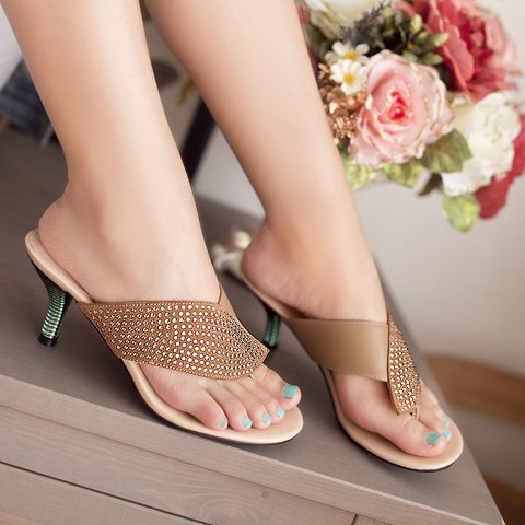 Chic Rhinestone Shiny Flip Flops Heel Genuine Leather Sandals