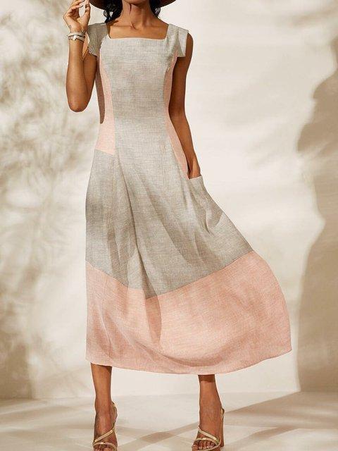 Paneled Pockets Square Neck Shift Holiday Geometric Plus Size Maxi Dresses