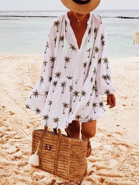 Bohemian holiday cotton floral dress