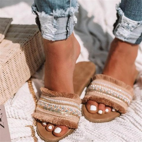 Boho Slide Sandals Slip-On Flat Heel Summer Shoes