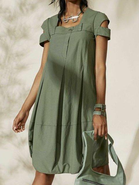 9893f0fbc8 Justfashionnow Plus Size Midi Shirt Dress Sundress Holiday Shift Square Neck  Paneled Short Sleeve Casual Dresses