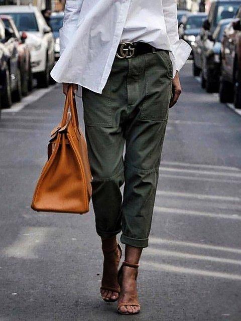 Big Pockets Paneled Plus Size Pants