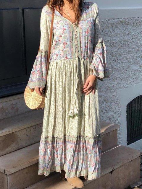 Bohemian holiday floral dress