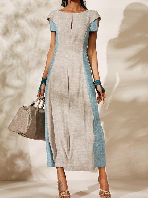 Paneled Cutout Crew Neck Shift Daily Vintage Plus Size Maxi Dresses