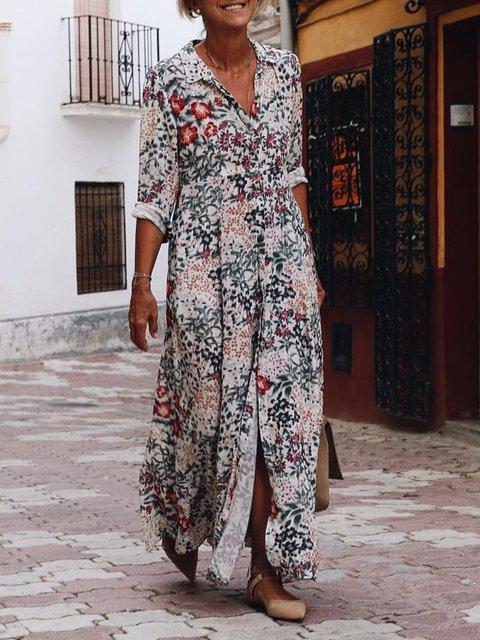 3/4 Sleeve Flowers Printed Maxi Shirt Dress
