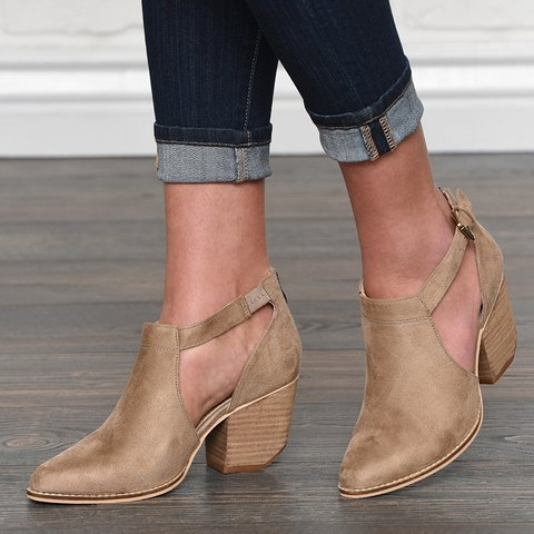 Womens Booties Buckle Strap Spring/fall Cut Out Chunky Heel Zipper Boots