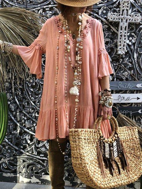 Bohemian large size casual cotton dress