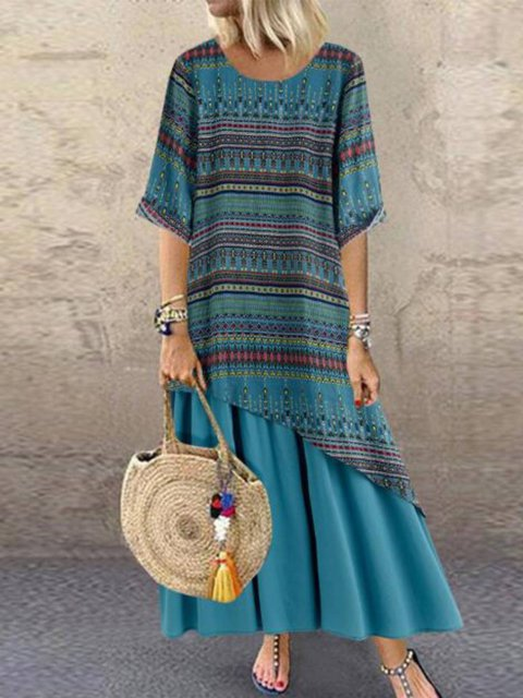 Cotton-Blend Round Neck Vintage Half Sleeve Dresses