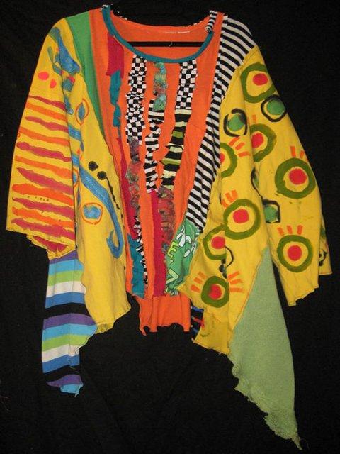 Women Yellow Round Neck Half Sleeve Patchwork Shirts & Tops