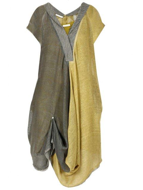 Paneled Plaid V Neck aily Casual Cotton Plus Size Midi Dresses