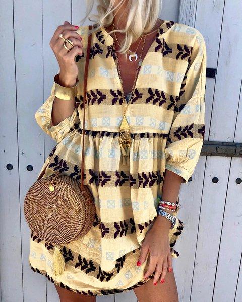 V Neck Women Summer Caftans Shift Daily Boho Tribal Dresses