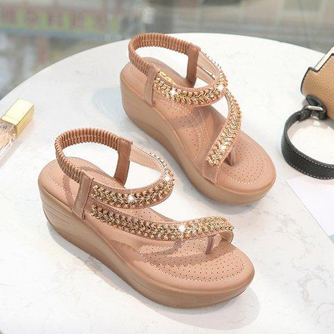 Plus Size Boho Comfy Elatic Band Wide Fit Sandals