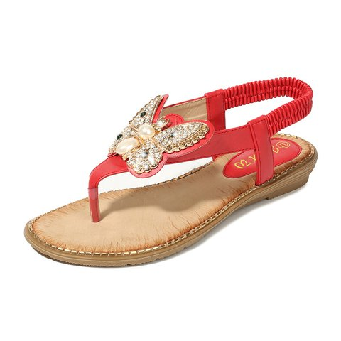 Plus Size Boho Comfy Elatic Band Butterfly Design Fit Sandals