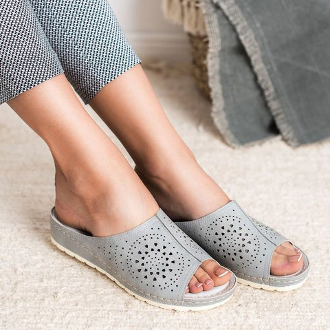 Plus Size Peep Toe Wide Fit Slide Sandals