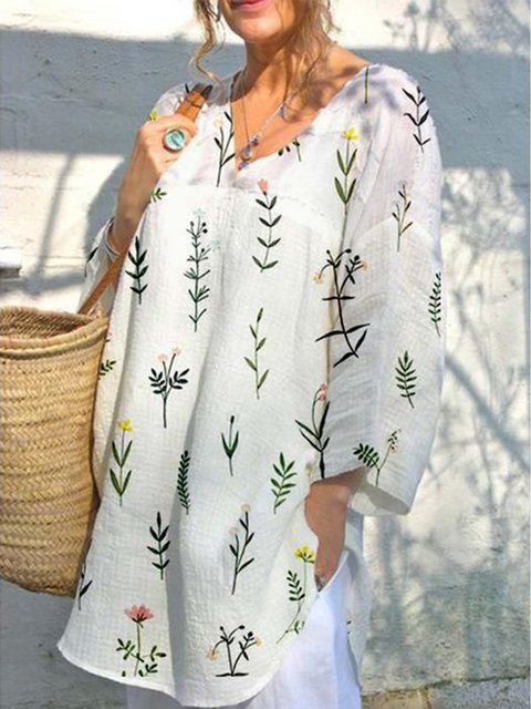 Printed Cotton Leaf Holiday Printed V Neck Tops