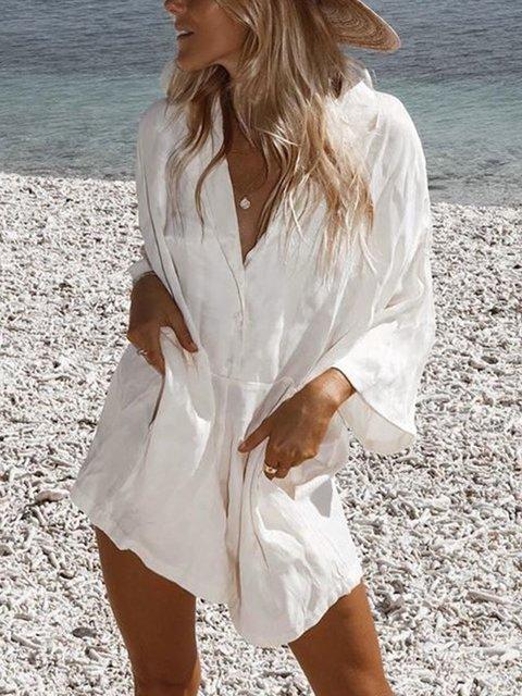 Large size loose cotton dress