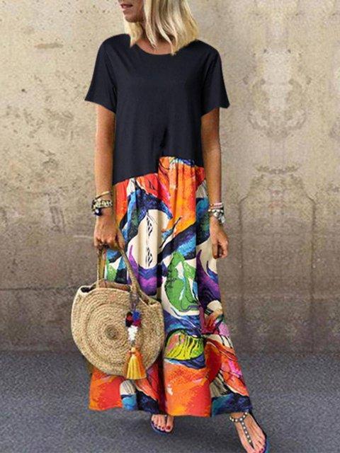 Black A-Line Casual Cotton-Blend Patchwork Dresses