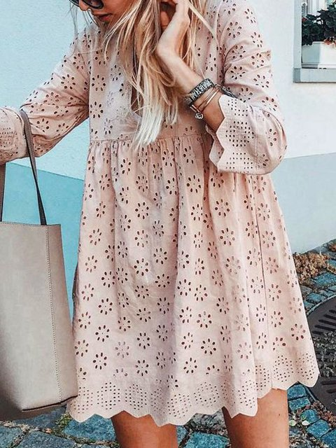 Eyelet V Neck Women Dresses Going Out Casual Cotton Dresses